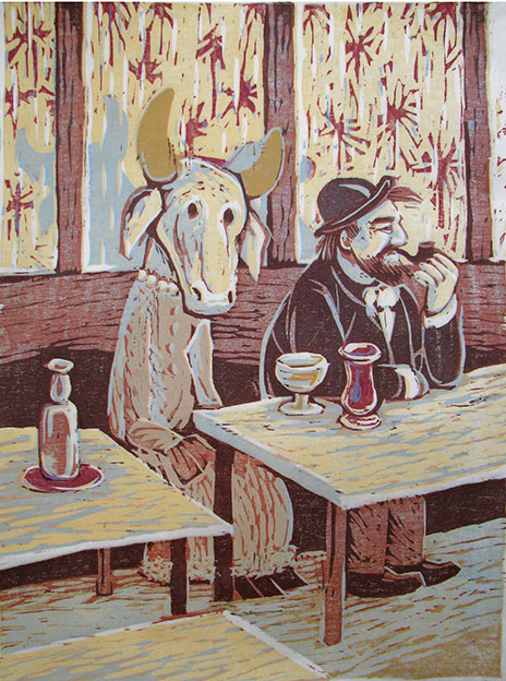 THE ABSINTH / Absintti, woodcut 1986, Edition 6, 38x48cm, Sold out