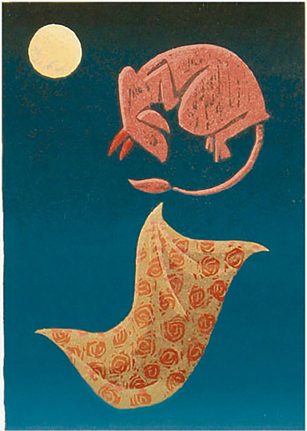 STRANGE DREAM / Outo uni, woodcut 1988, Edition 12, 28x40cm, Sold out