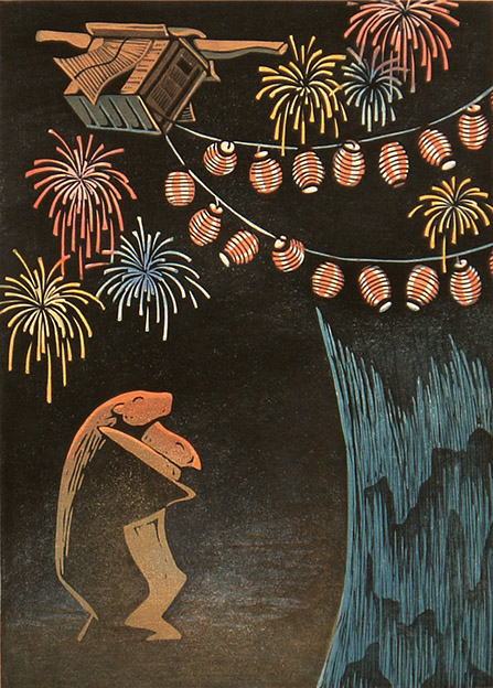 OBON IN KYOTO, woodcut 1990, Edition 30, 35x50cm, 320 €