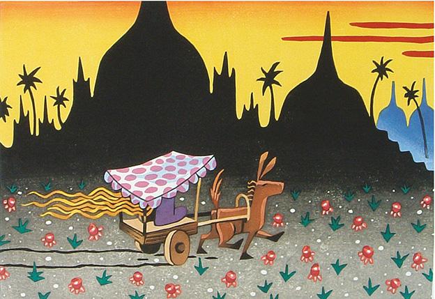 GOLDEN SUNSET/ Kultainen auringonlasku, woodcut 1993, Edition 12, 55x35cm, 380 €