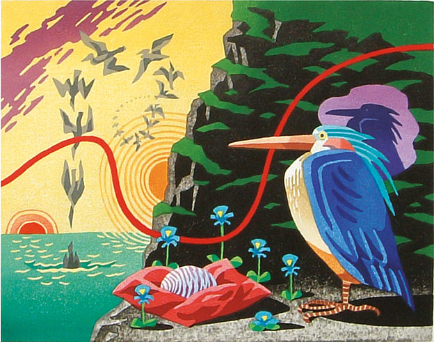 MIGRATORY BIRD 3, woodcut 1998, Edition 10, 32x25cm, 350 €