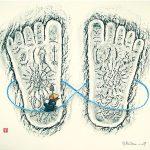 ON BUDDHAS FOOTSTEP / Buddhan jalanjäljillä, Busseki-rubbing & acrylic on paper 2007, 70x100 cm, 700€