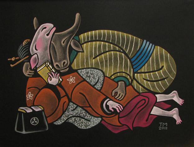 SHUNGAMOOD 1 / Lemmekästä oloa 1, Pastel on black paper 2011, 70 x 100 cm, Sold