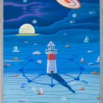 LIGHTHOUSE IN THE SKY / Taivasmajakka, Pastelli puulle 2013, 40x60 cm, 1200 €