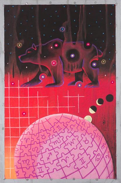 URSA MAJOR / Karhun tähtikuvio, Pastelli puulle 2013, 40x60 cm, 1200 €