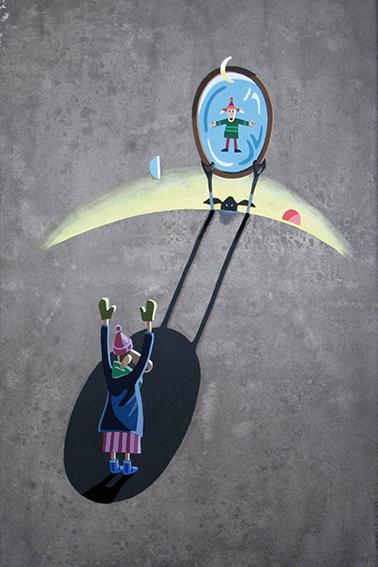 SKYPE, 2017, Acryl painting on handmade paper, 30 x 45 cm, 450 €